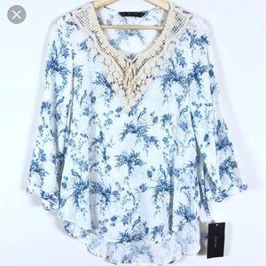 Zara blue white bird print top crochet neck